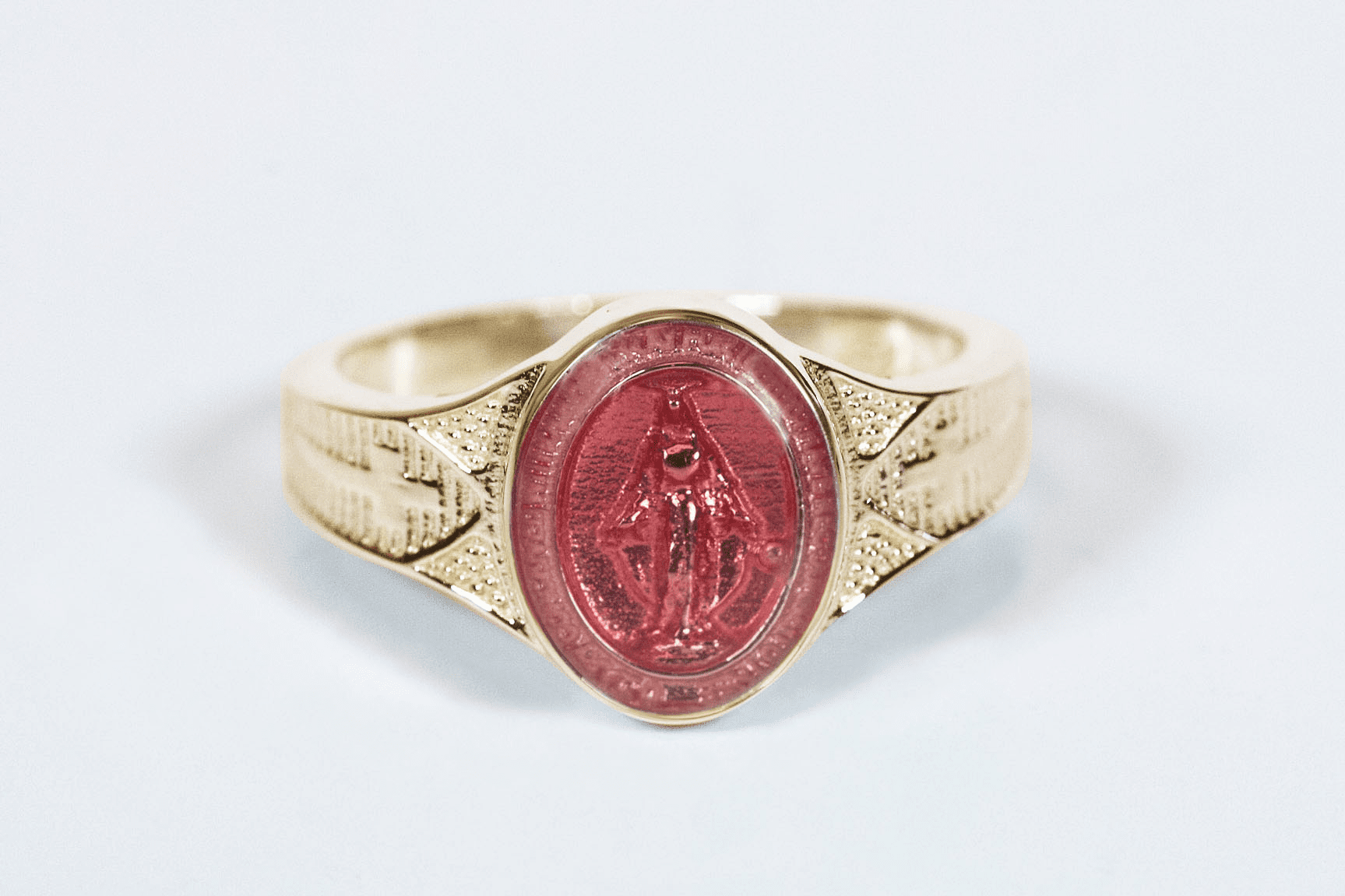 Bliss Catholic Women's 14kt Yellow Gold Pink Epoxy Miraculous Medal Ring
