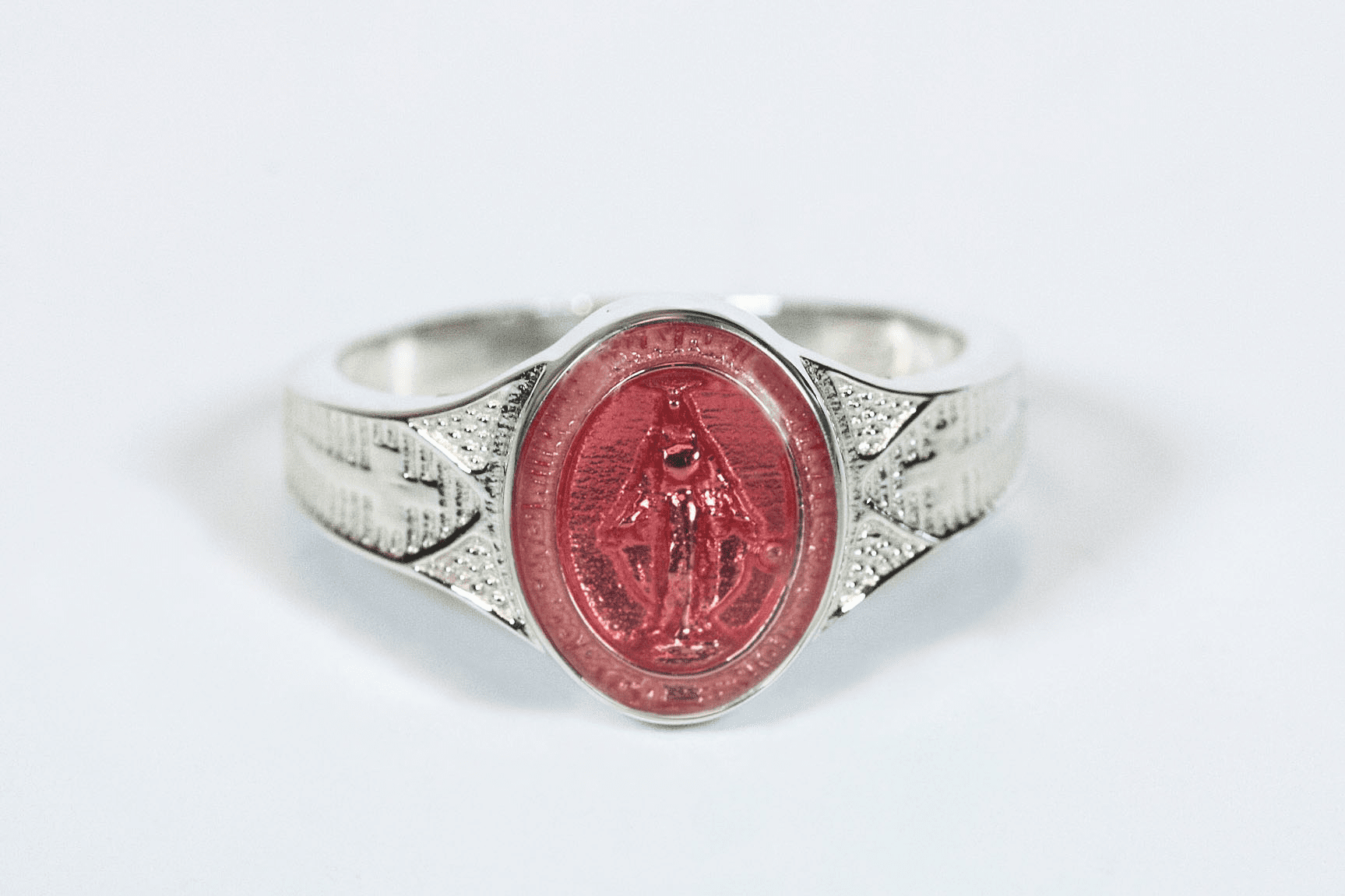 Bliss Catholic Women's Sterling Silver Pink Miraculous Medal Ring