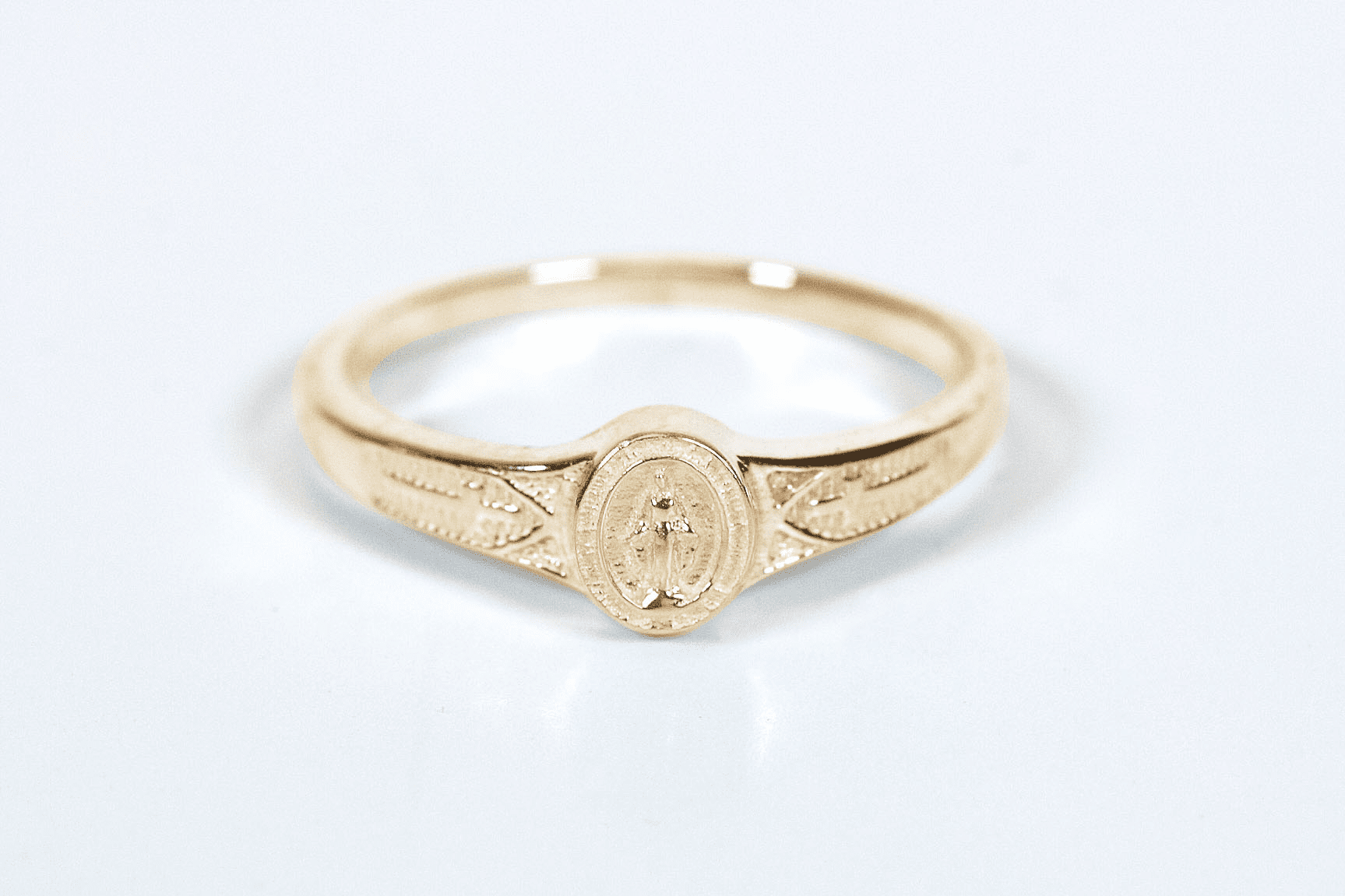 Bliss Child's Catholic 14kt Yellow Gold Miaculous Medal Ring