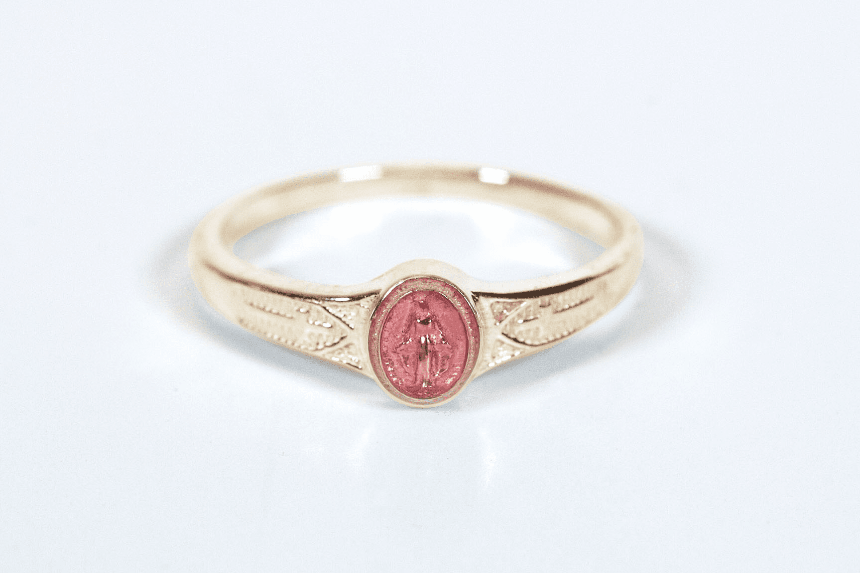 Bliss Child's Catholic 14kt Yellow Gold Pink Epoxy Miaculous Medal Ring