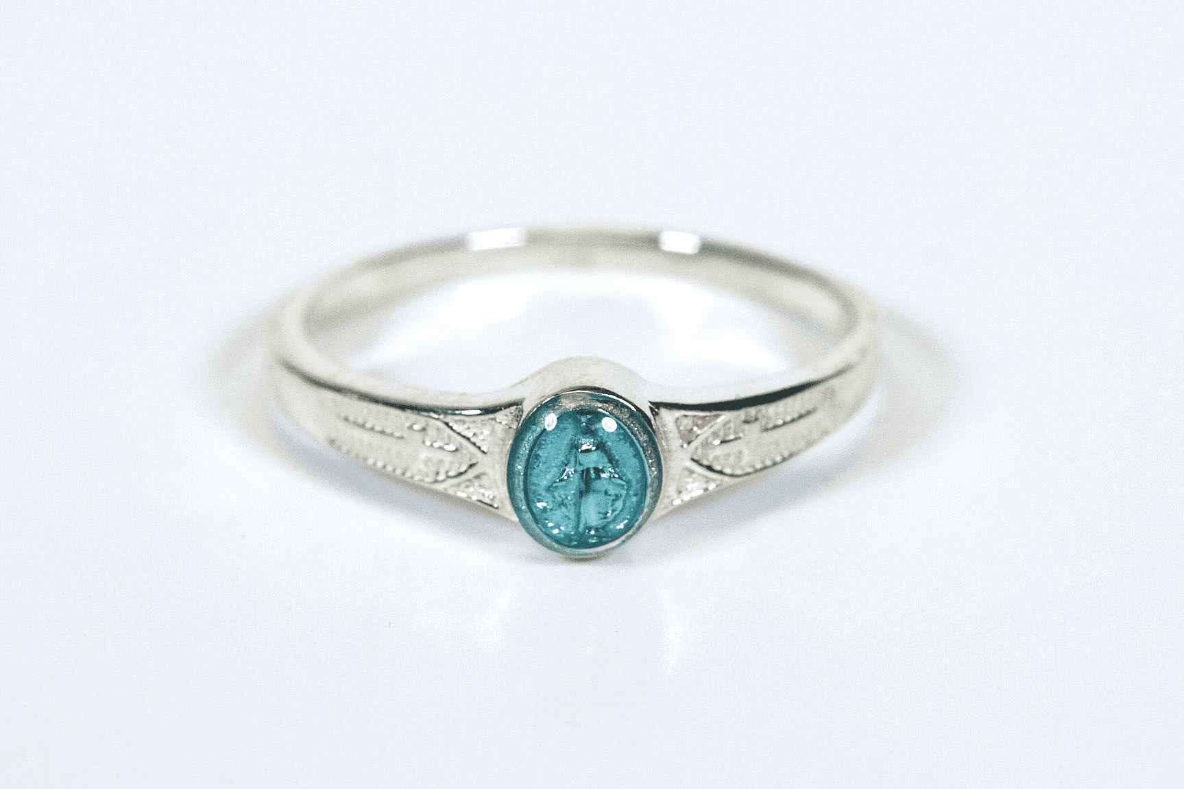 Bliss Child's Catholic Sterling Silver Blue Miaculous Medal Ring