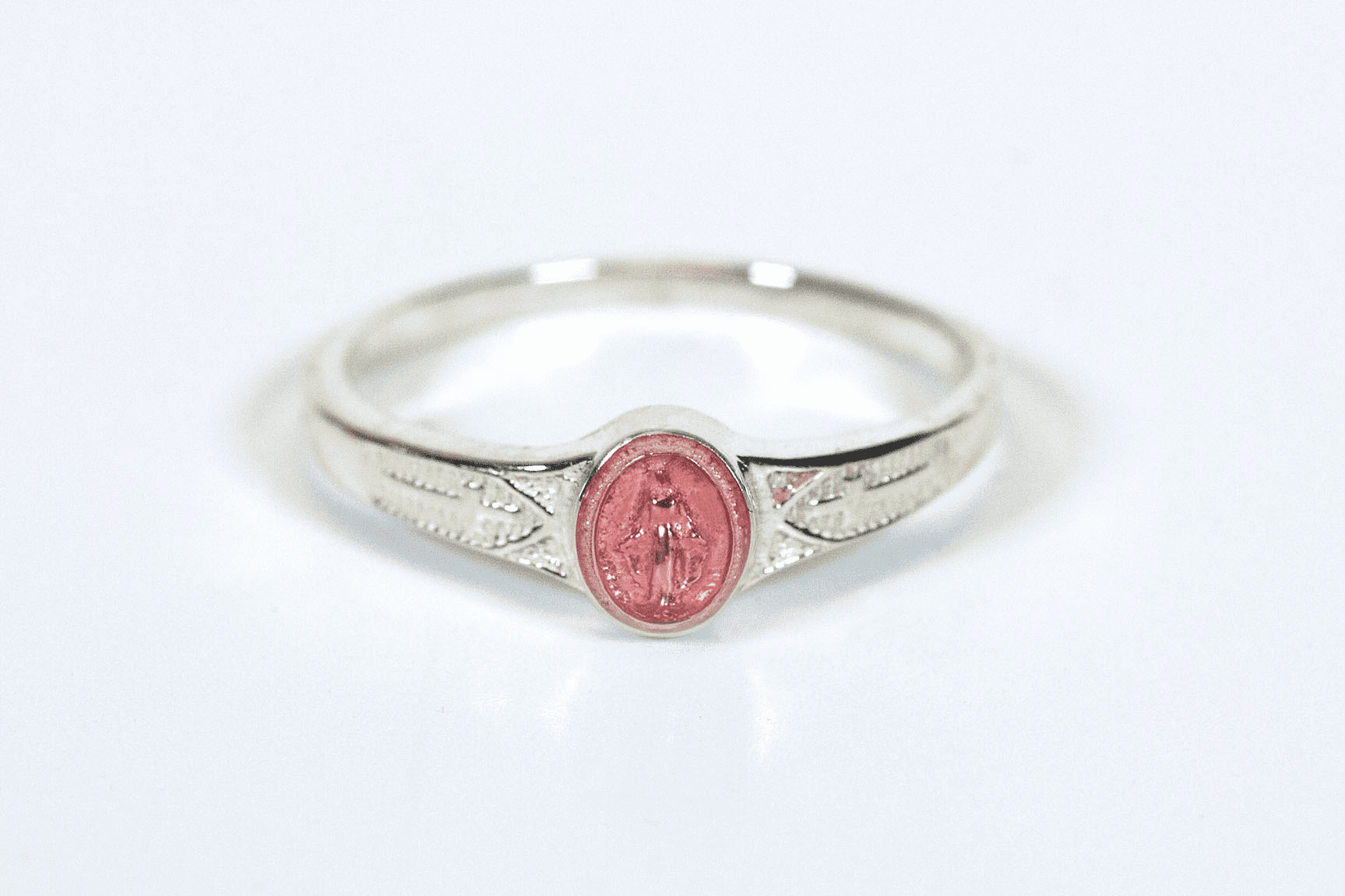 Bliss Child's Catholic Sterling Silver Pink Miaculous Medal Ring