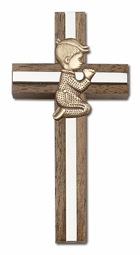 Bliss Christian Walnut and Brass Wall Crosses