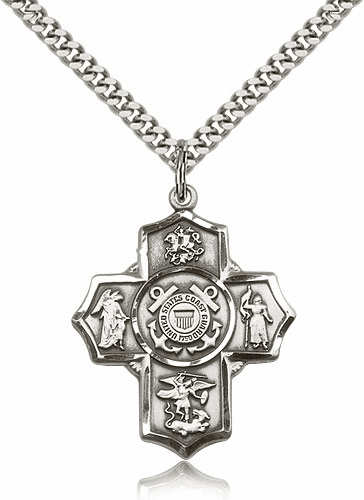 Bliss Coast Guard 5-Way Military Cross Sterling Silver Medal Necklace