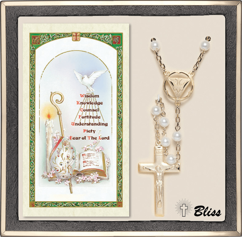 Bliss Confirmation Holy Spirit Gold Pearl Rosary & Prayer Card