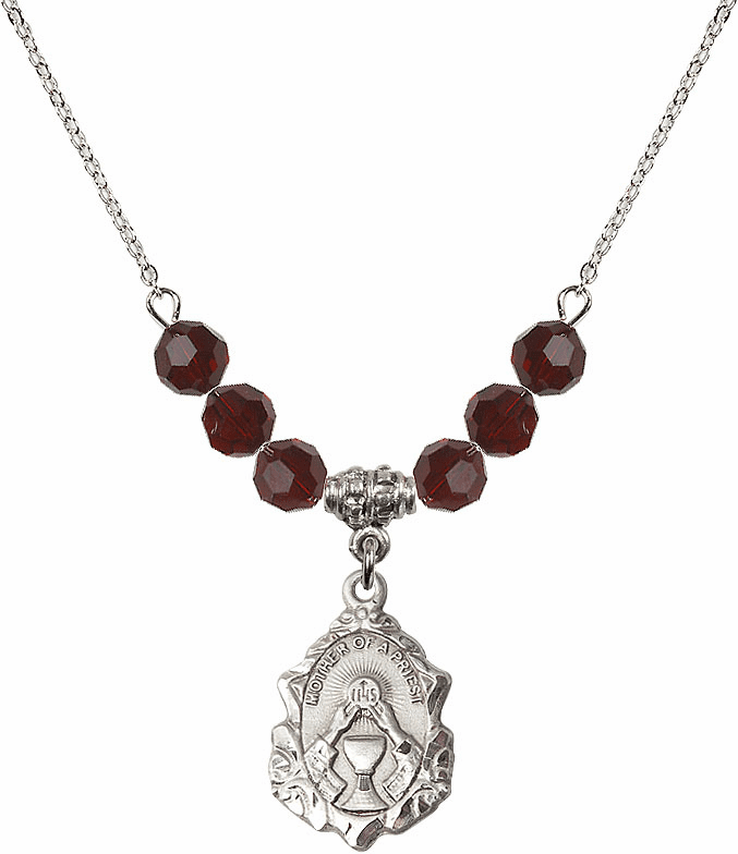 Bliss Crystal Mother of a Priest 6mm January Garnet Swarovski Crystal Necklace