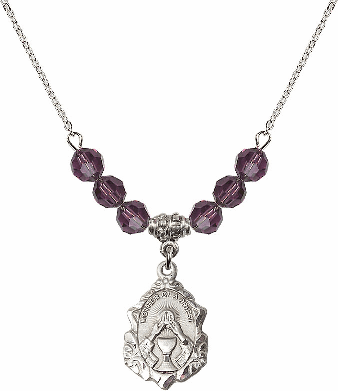 Bliss Crystal Mother of a Priest February Amethyst 6mm Swarovski Crystal Necklace