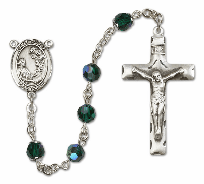 Bliss Emerald Swarovski Crystal Patron Saint Sterling Rosary