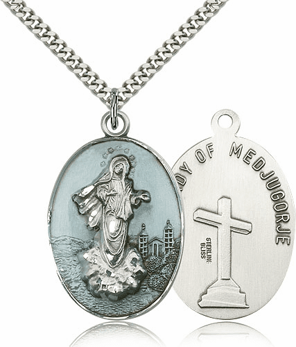Bliss Enamel Sterling Silver Our Lady of Medjugorje Necklace