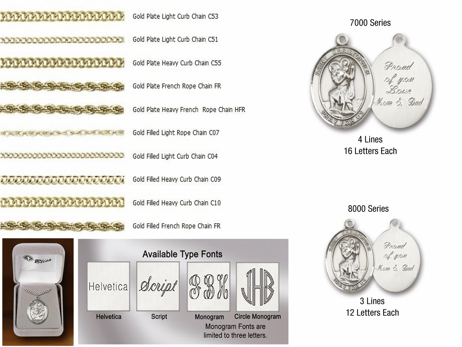 Bliss Engraving and Chain Options