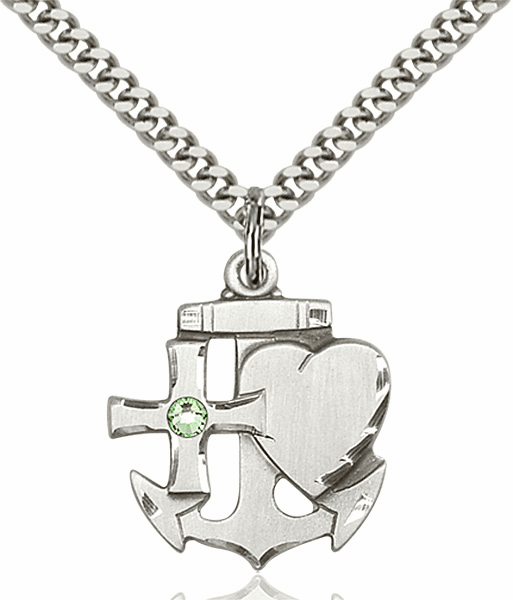 Bliss Faith, Hope and Charity Sterling Silver August Peridot Birthstone Swarovski Crystal Pendant