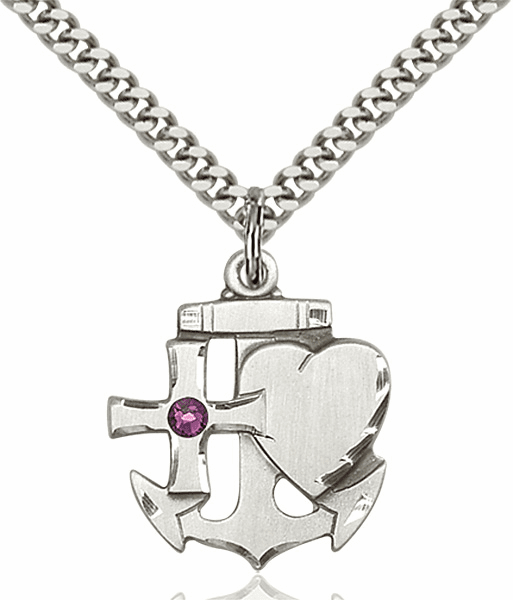 Bliss Faith, Hope and Charity Sterling Silver February Amethyst Birthstone Swarovski Crystal Pendant