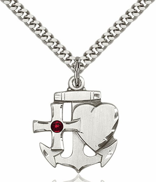 Bliss Faith, Hope and Charity Sterling Silver January Garnet Birthstone Swarovski Crystal Pendant