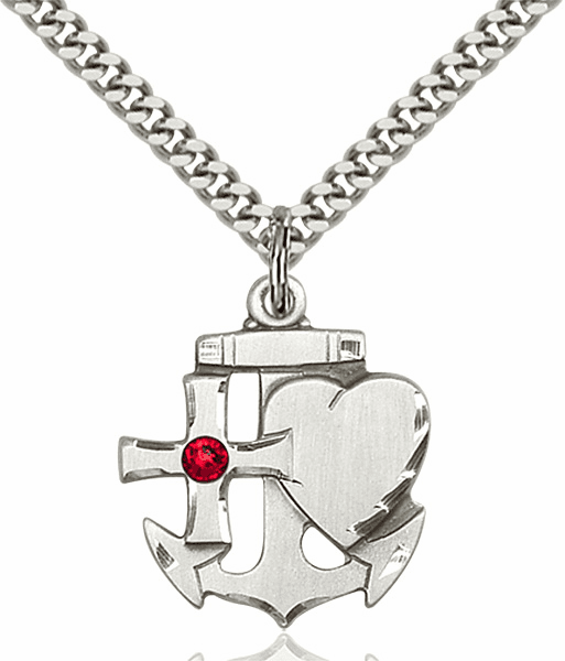 Bliss Faith, Hope and Charity Sterling Silver July Ruby Birthstone Swarovski Crystal Pendant
