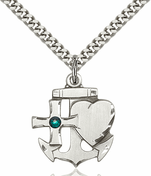 Bliss Faith, Hope and Charity Sterling Silver May Emerald Birthstone Swarovski Crystal Pendant