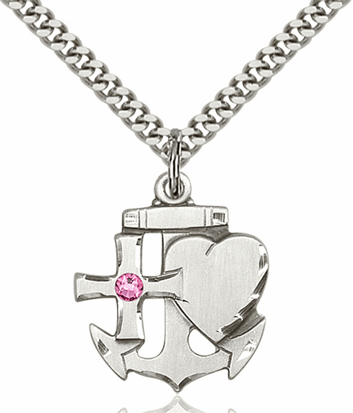 Bliss Faith, Hope and Charity Sterling Silver October Rose Birthstone Swarovski Crystal Pendant