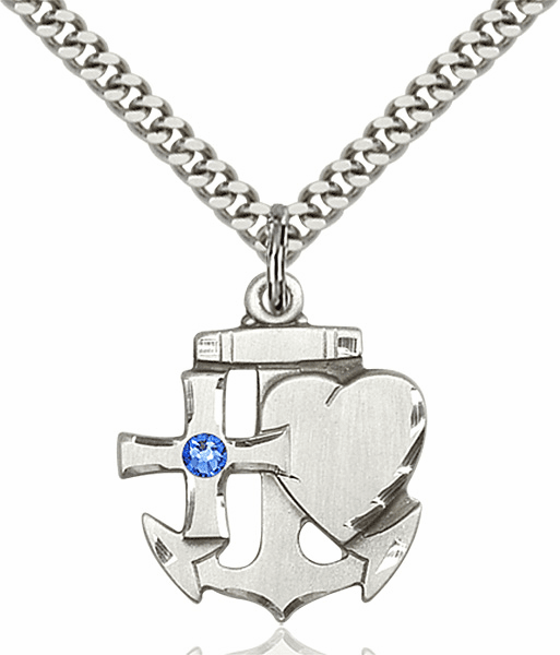 Bliss Faith, Hope and Charity Sterling Silver September Sapphire Birthstone Swarovski Crystal Pendant