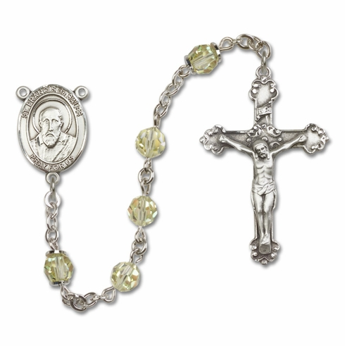Bliss Fancy St Francis de Sales Sterling and Gold Jonquil Crystal Rosaries