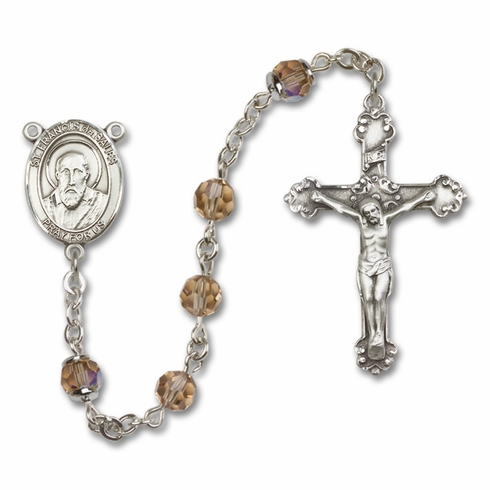 Bliss Fancy St Francis de Sales Sterling and Gold Topaz Crystal Rosaries