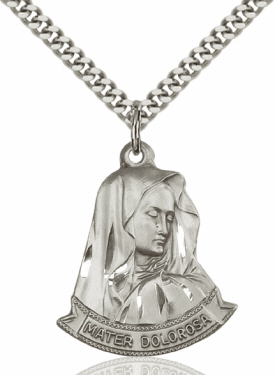 Bliss Figure Our Lady of Seven Sorrows/Mater Dolorosa Pendant w/Chain