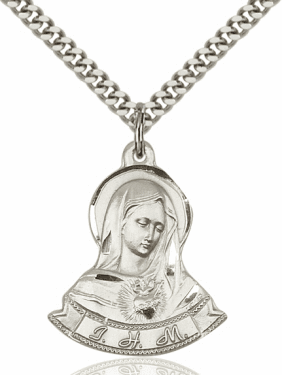 Bliss Figure Shape Immaculate Heart of Mary Pendant w/Chain