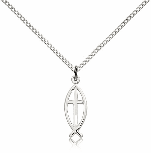 Bliss Fish with Cross Sterling Silver Necklace