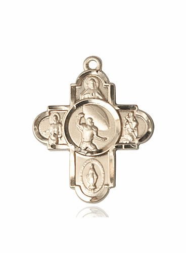 Bliss Football 5-Way Cross Sport 14kt Gold Medal