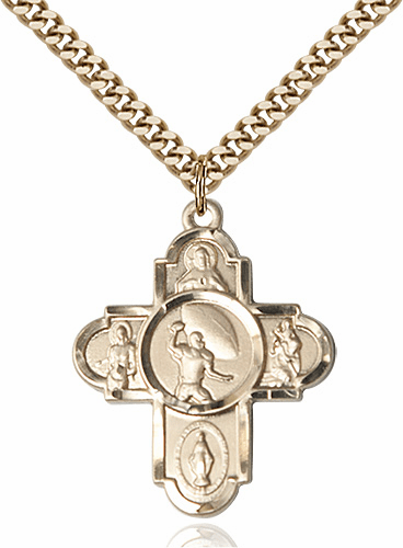 Bliss Football 5-Way Gold-filled Cross Sports Medal Necklace