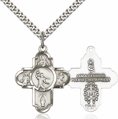 Bliss Football 5-Way Sterling Silver Cross Sport Medal Necklace