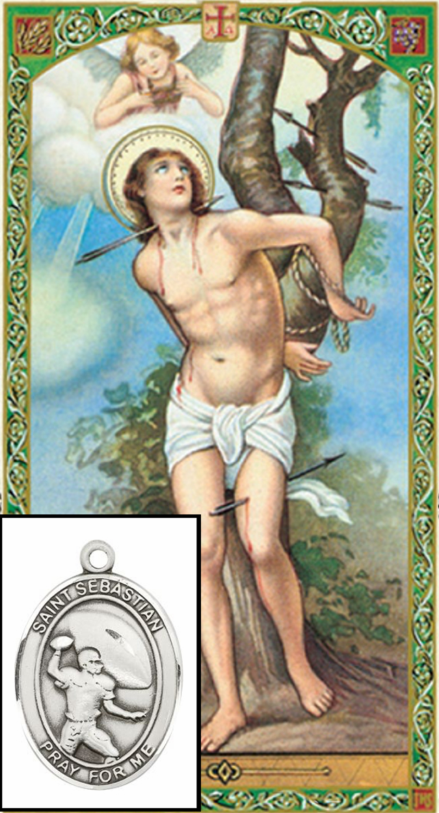 Bliss Football St Sebastian Prayer Card and Pewter Pendant Necklace Gift Set