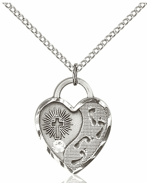 Bliss Footprints Heart April Crystal Birthstone Necklace
