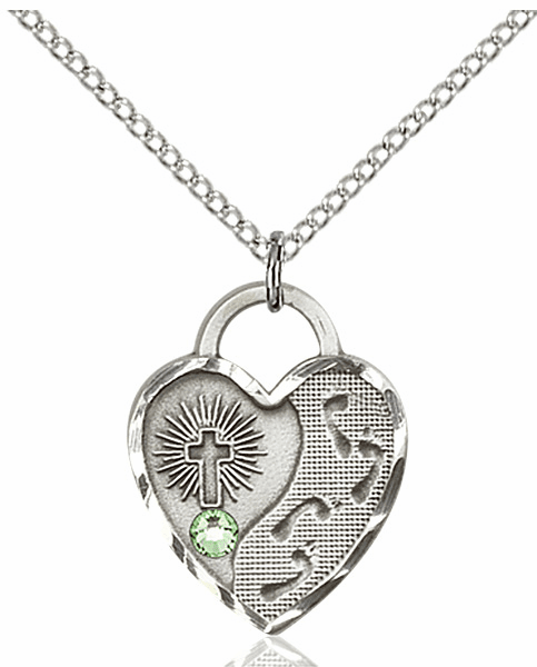 Bliss Footprints Heart August Peridot Birthstone Necklace