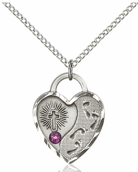 Bliss Footprints Heart February Amethyst Birthstone Necklace