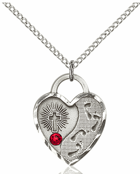 Bliss Footprints Heart July Ruby Birthstone Necklace