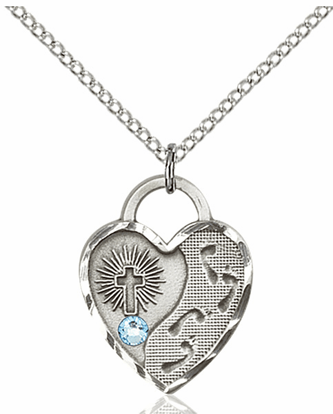 Bliss Footprints Heart March Aqua Birthstone Necklace