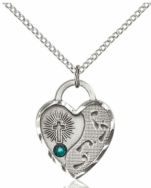 Bliss Footprints Heart May Emerald Birthstone Necklace