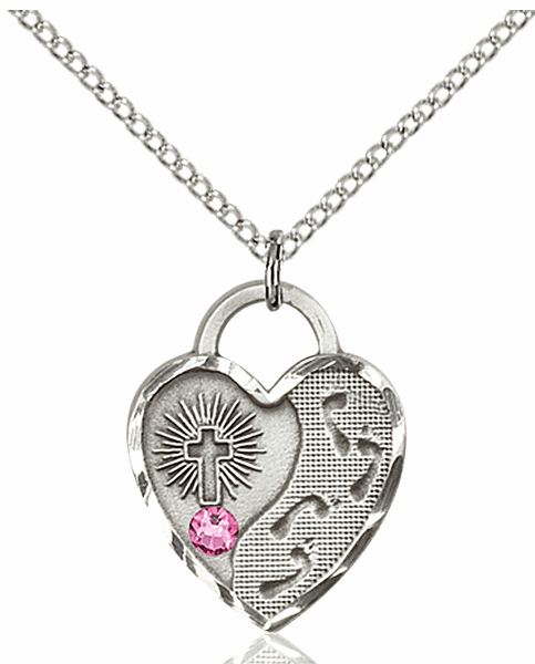 Bliss Footprints Heart October Rose Birthstone Necklace