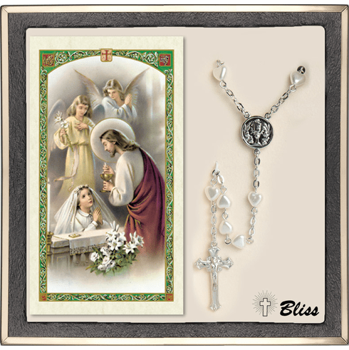Bliss Girl's Communion Silver Heart Pearl Rosary & Prayer Card