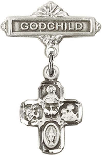 "Bliss Godchild Badge Pin Baby Badge with Christian Charm ""More Charms"""