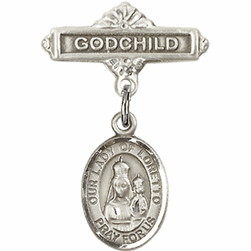 Bliss Godchild Pin Baby Badge with Our Lady of Loretto Charm