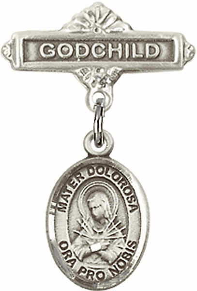 Bliss Godchild Badge Pin Baby Badge with Our Lady of Sorrows - Mater Dolorosa Charm