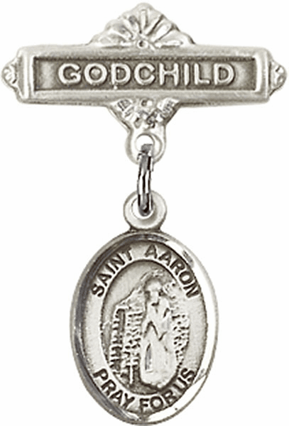 Bliss Godchild Pin Baby Badge with St Aaron Charm