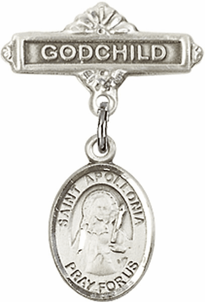Bliss Godchild Badge Pin Baby Badge with St Apollonia Charm