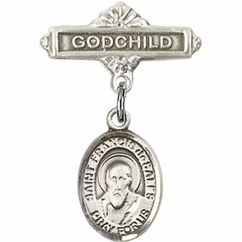 Bliss Godchild Pin Baby Badge with St Francis de Sales Charm