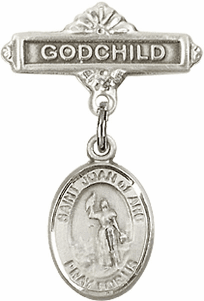 Bliss Godchild Badge Pin Baby Badge with St Joan of Arc Charm
