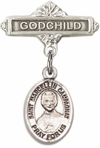 Bliss Godchild Pin Baby Badge with St Marcellin Champagnat Charm