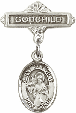 Bliss Godchild Badge Pin Baby Badge with St Matthew the Apostle Charm