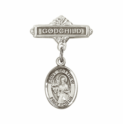 Bliss Godchild Pin Baby Badge with St Matthew the Apostle Charm