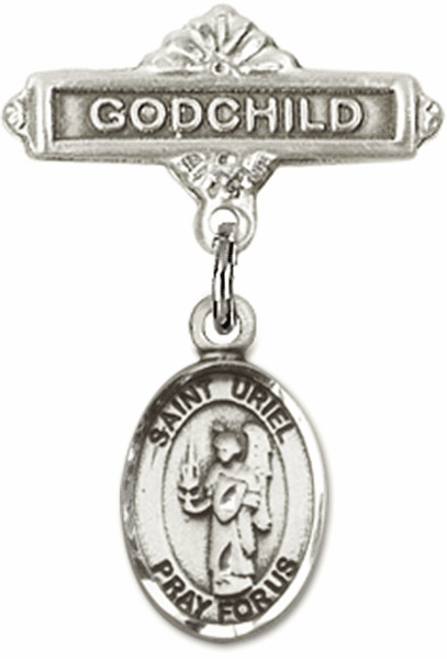 Bliss Godchild Pin Baby Badge with St Uriel the Archangel Charm