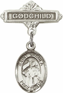 Bliss Godchild Badge Pin Baby Badge with St Ursula Charm
